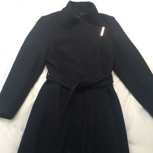 Ted Baker Belted Wrap Coat Navy Blue Silk Lined
